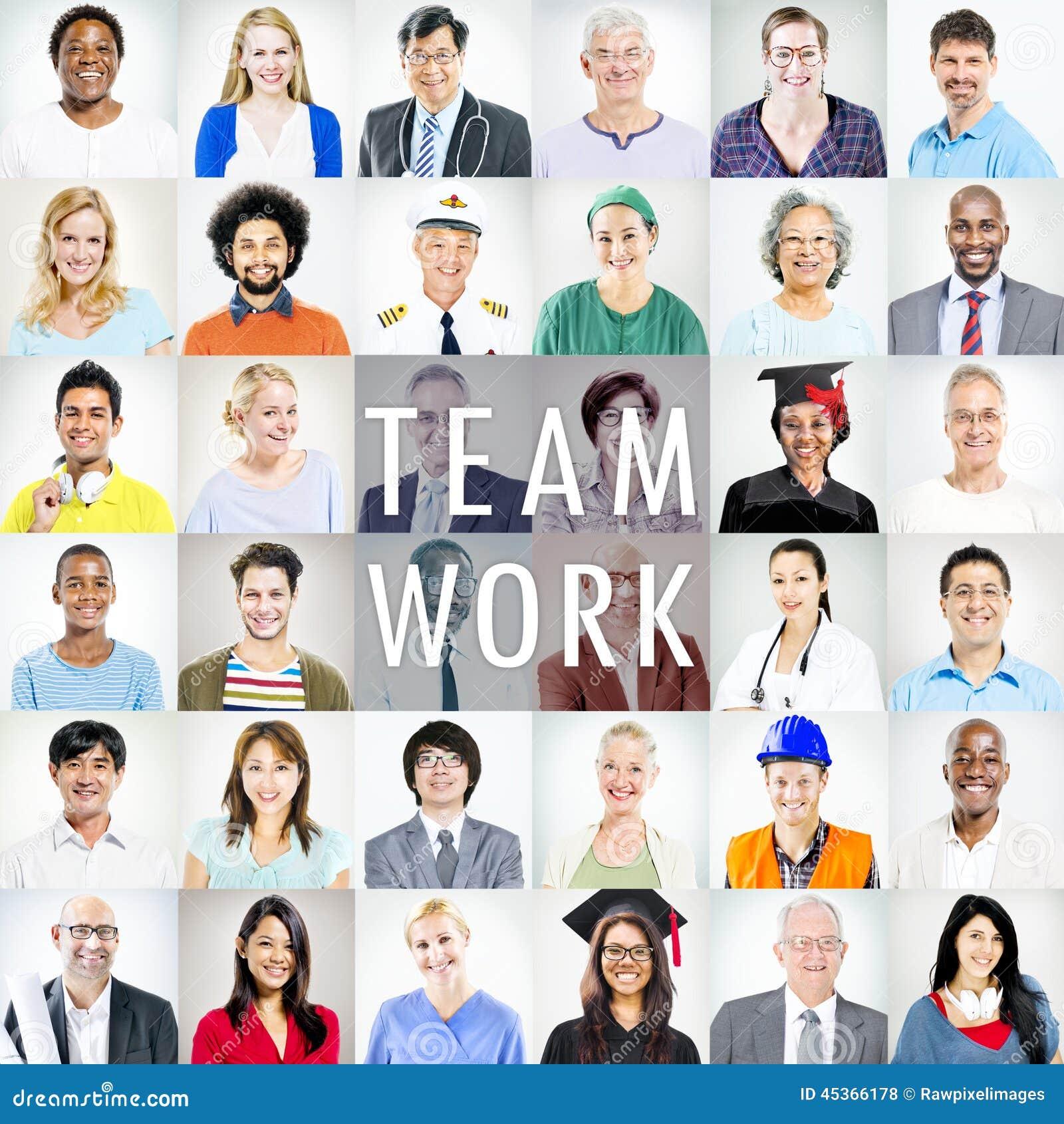 Portrait des personnes mélangées multi-ethniques de professions