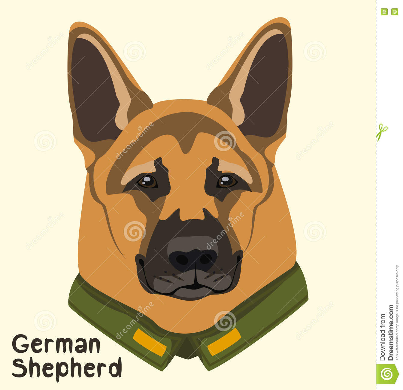 Portrait Of A Dog Breed German Shepherd In The Military