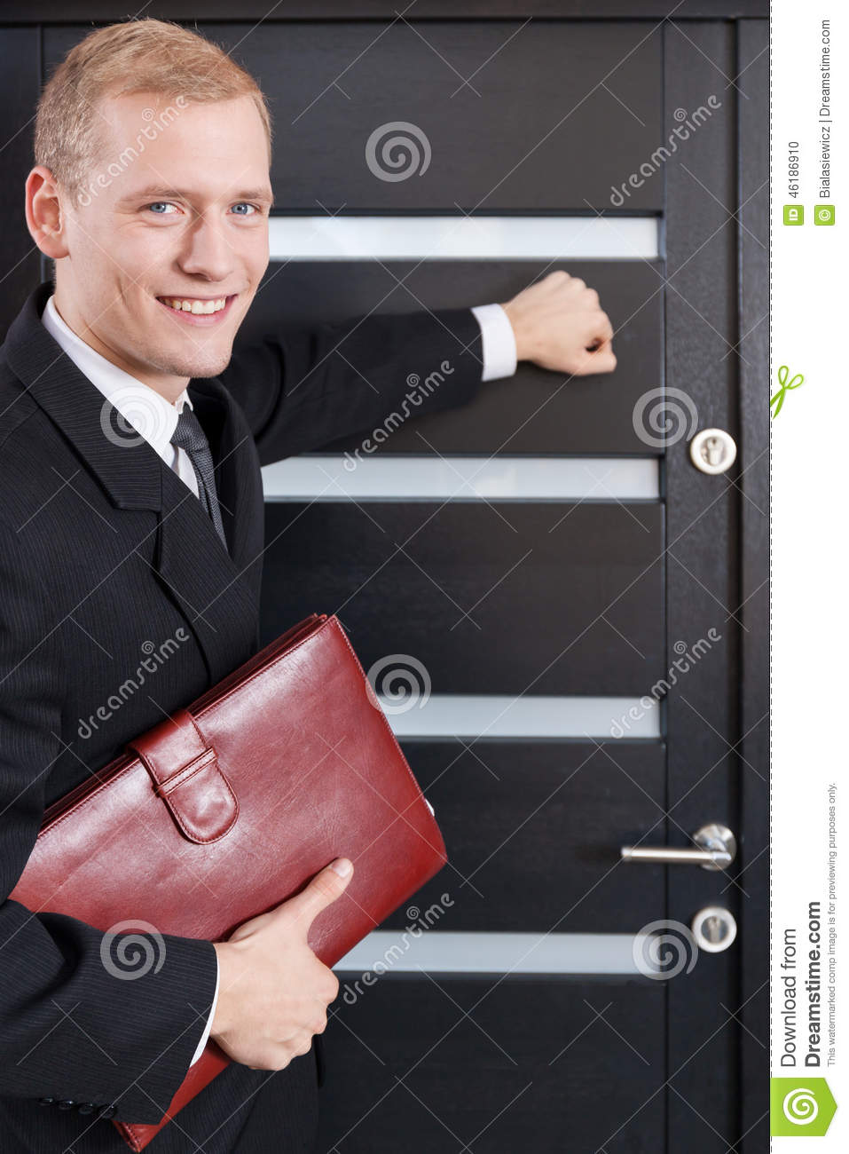Portrait of door to door salesman stock photo image for Door to door salesman