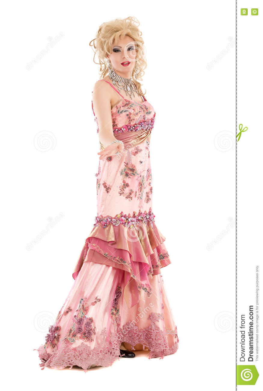 Portrait Drag Queen In Pink Evening Dress Performing Stock Photo ...