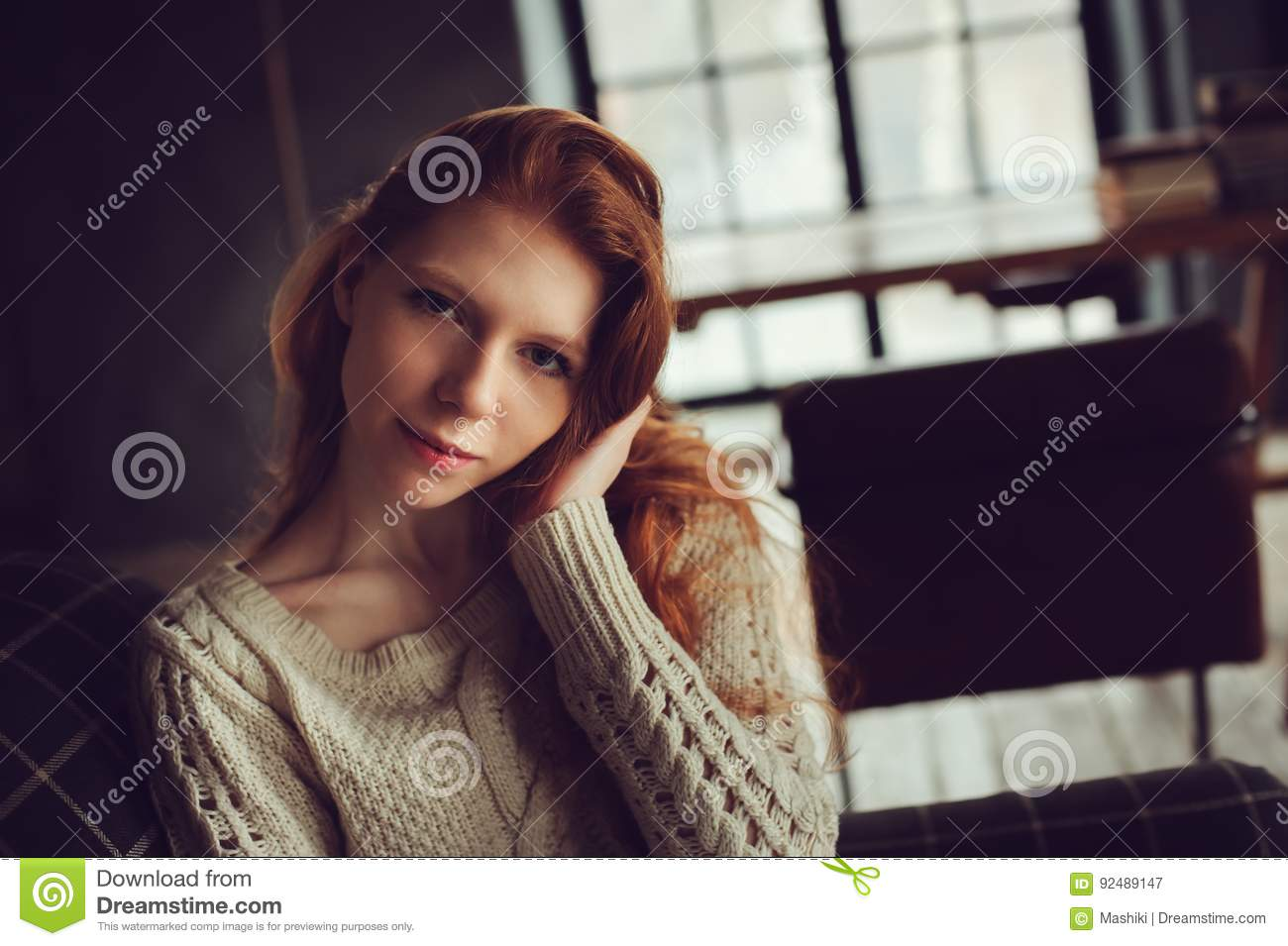 Portrait Of Dreamy Young Beautiful Redhead Woman Relaxing At Home Stock Image - Image of