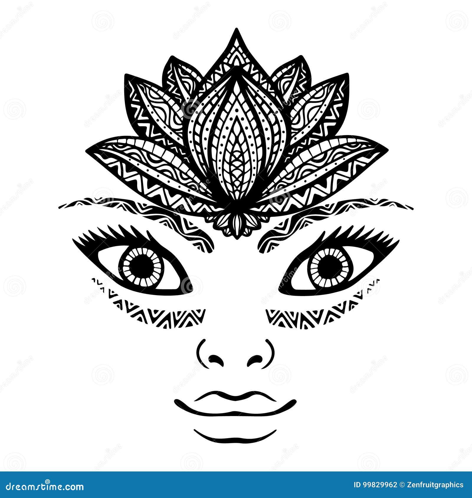 tatouage henn au visage
