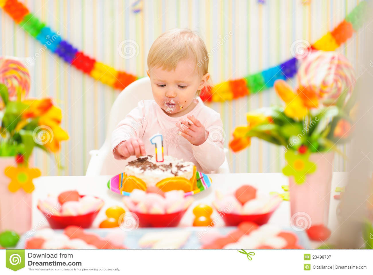 Happy Birthday Baby Eating Cake Baby Eating Birthday Cake