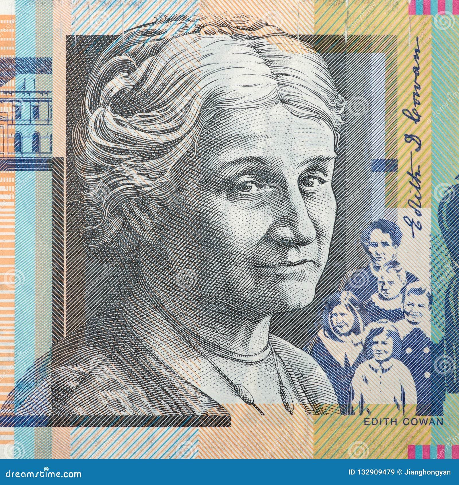 Portrait of Edith Cowan - Australian 50 dollar bill closeup
