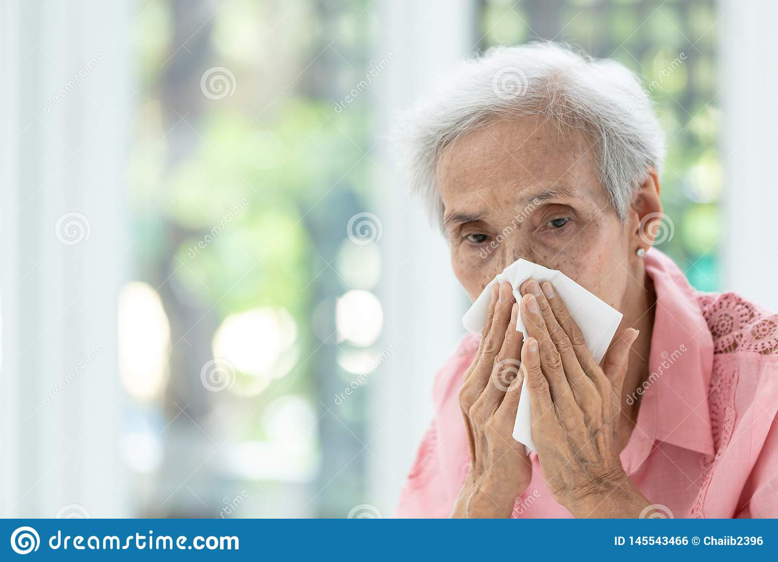 Portrait of elderly woman blowing nose in paper handkerchief,runny nose,Asian senior woman sneezing in a tissue,concept of