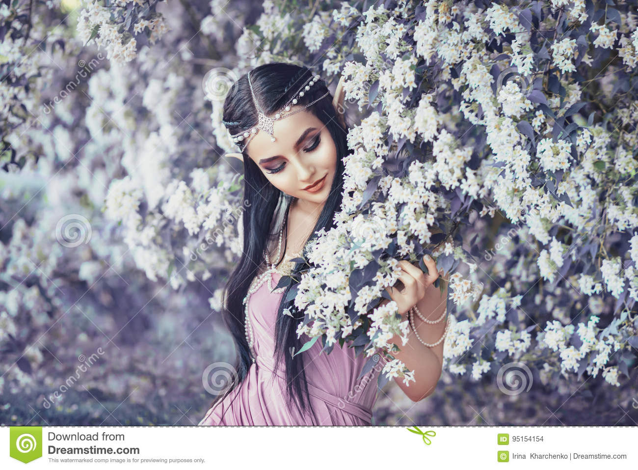 Download Portrait Of An Elf In A Blooming Garden Stock Photo - Image of mysticism, elegance: 95154154
