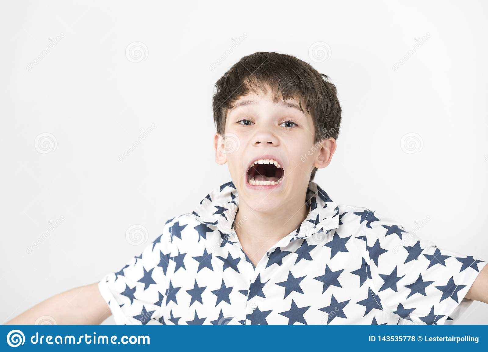 Portrait Of An Emotional Boy Stock Photo - Image of ...