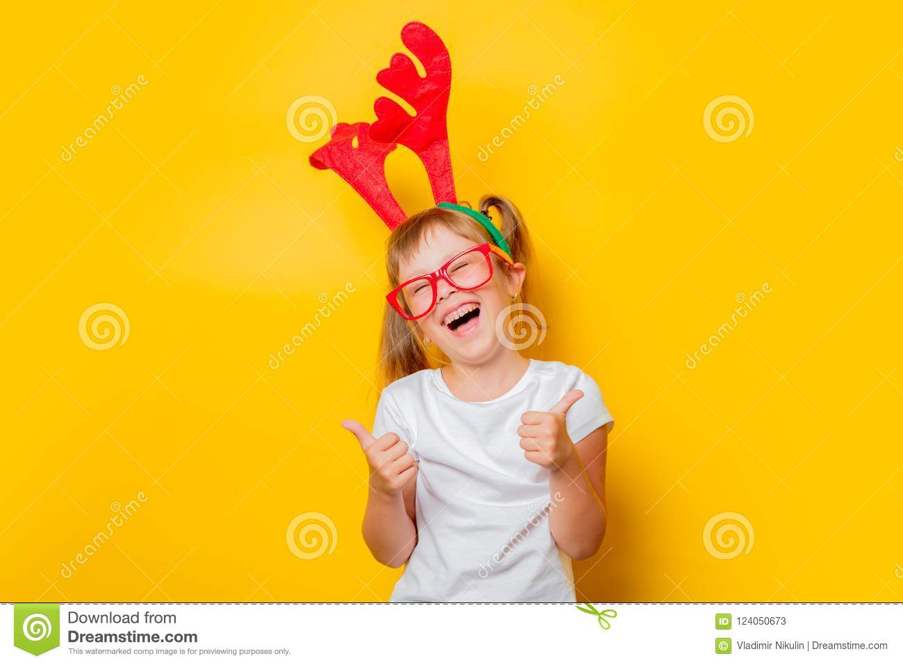 download toddler girl in christmas deer horns stock image image of shirt child
