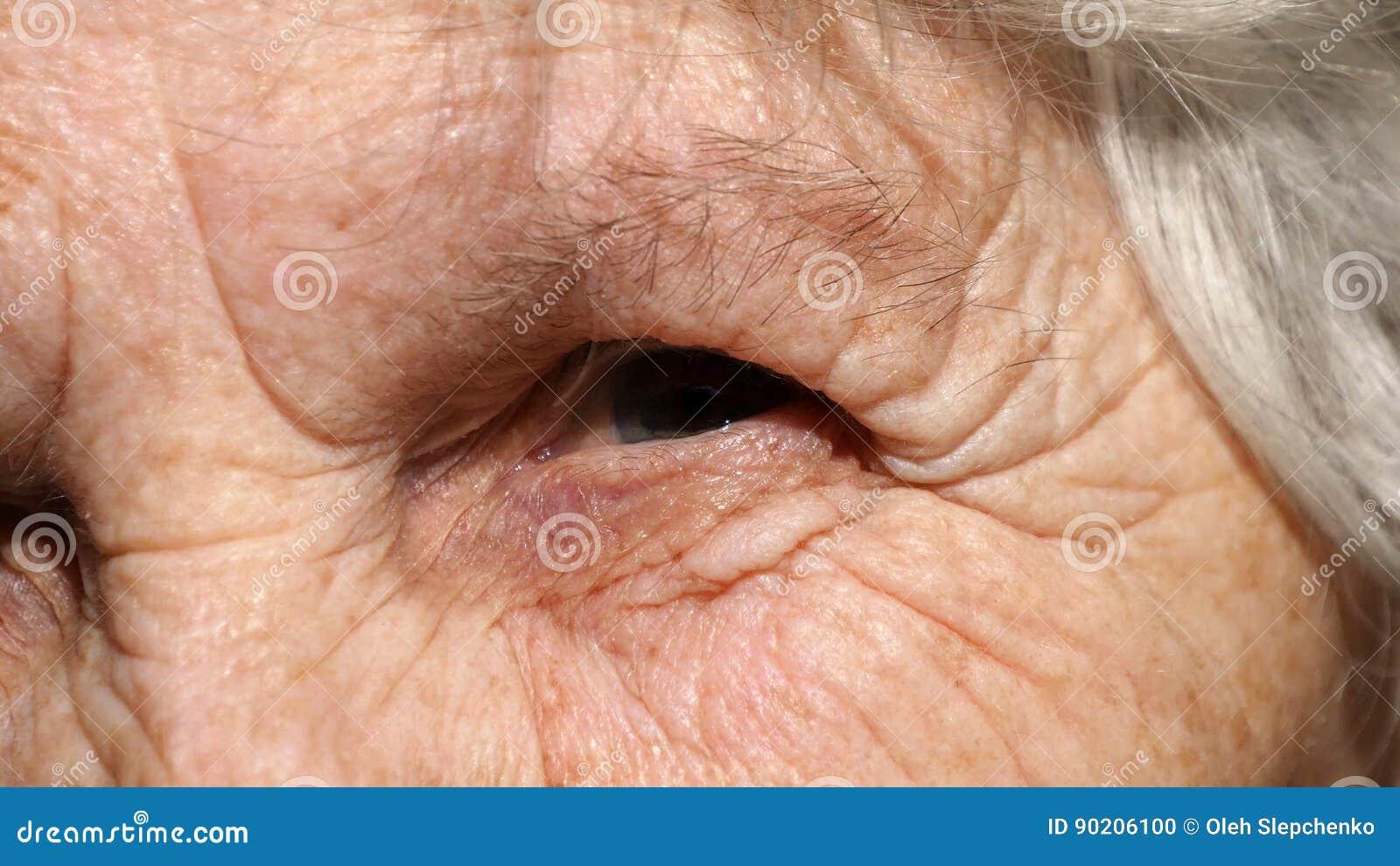 Portrait en gros plan d un regard fixe du ` s de dame âgée Oeil de grand-mère