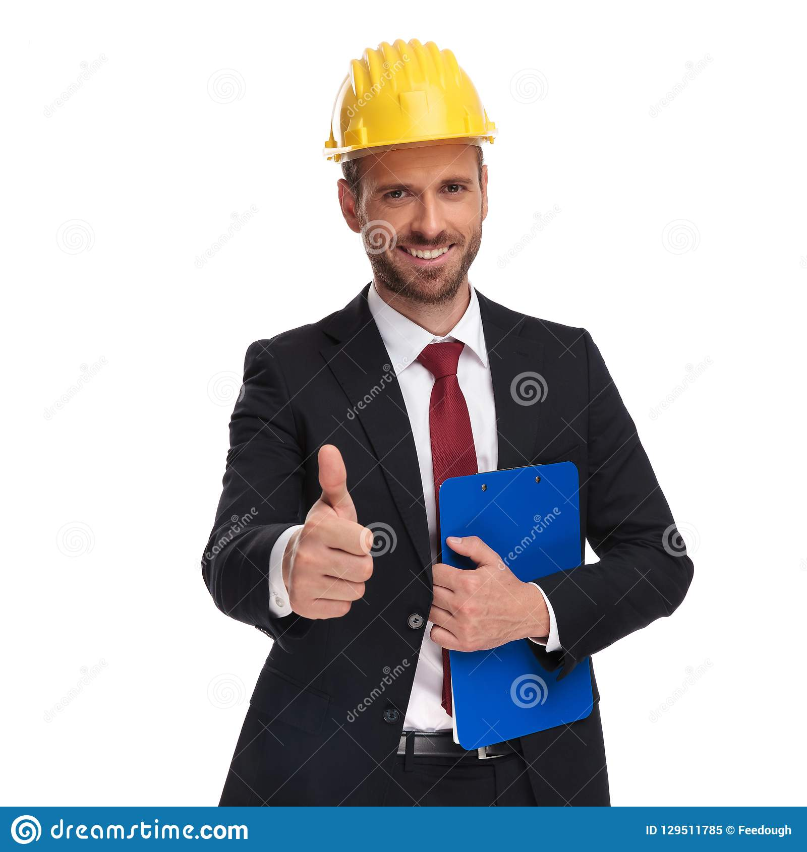 Portrait of engineer boss with blue folder making ok sign