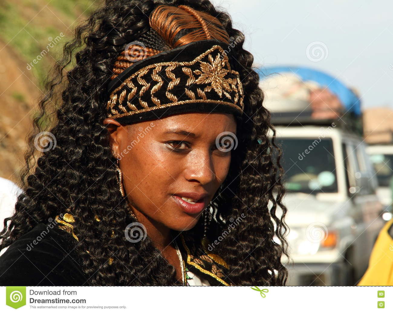 Portrait Of A Ethiopian Bride On Her Wedding Day Editorial Stock - Ethiopian brides hairstyle
