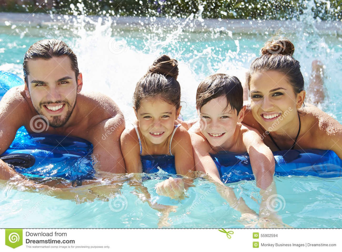 Family in swimming pool cartoon vector for Family swimming pool