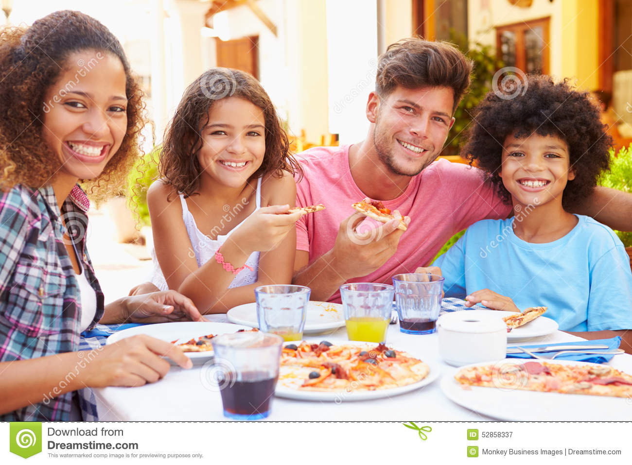 Portrait Stock - Outdoor Eating At Image 52858337 Hispanic Child Restaurant Of Family Meal