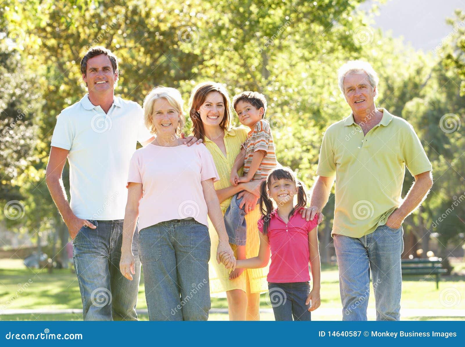 Portrait Of Family Enjoying Walk In