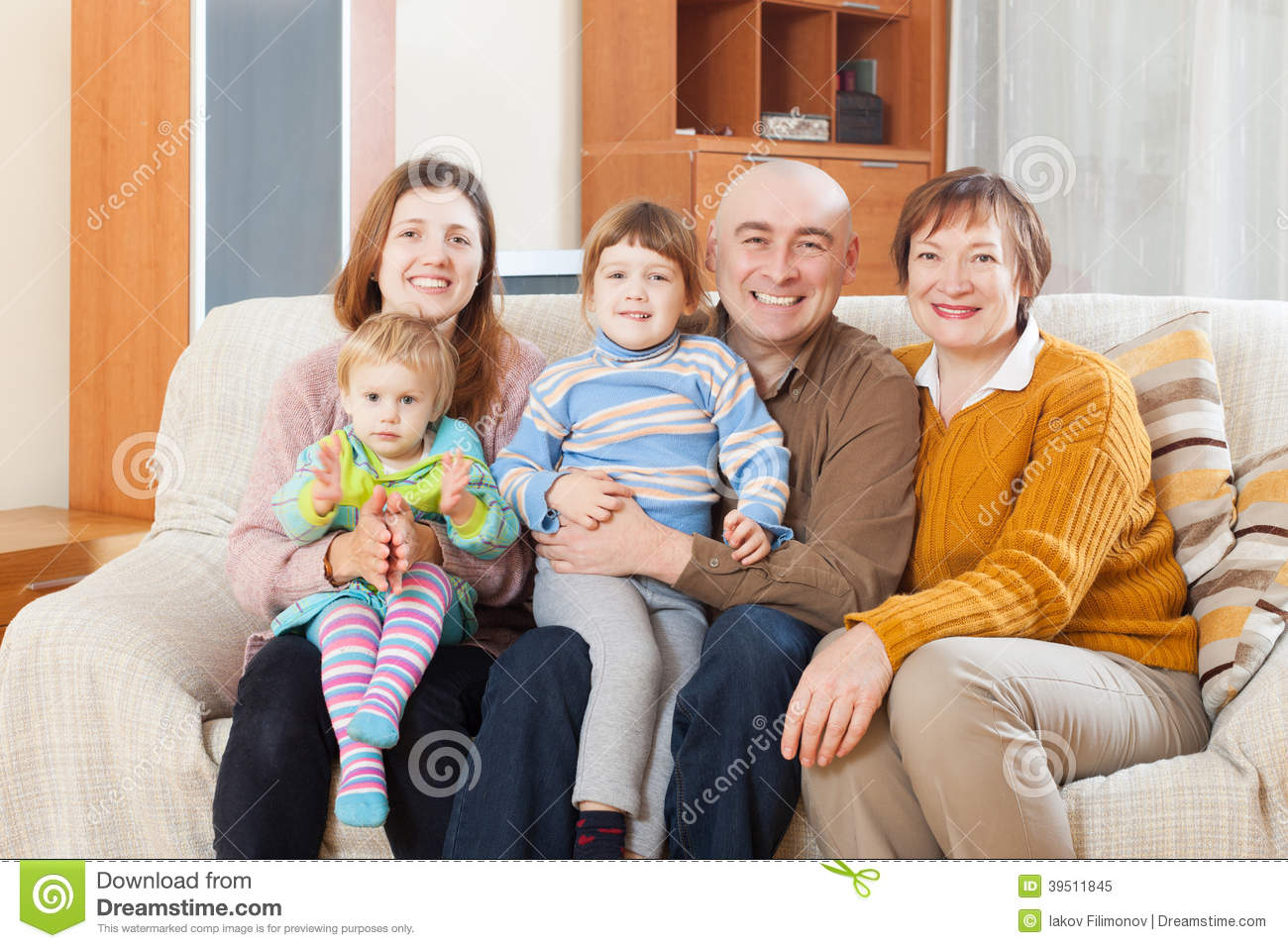 Portrait family in home