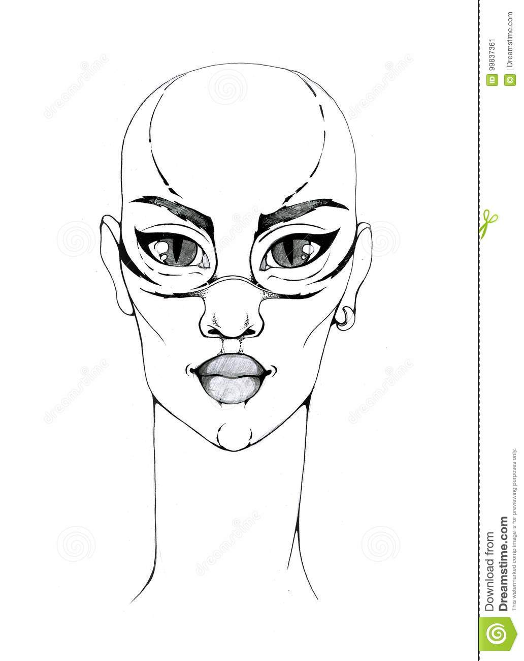 portrait of a fantastic bald woman with big eyes stock illustration