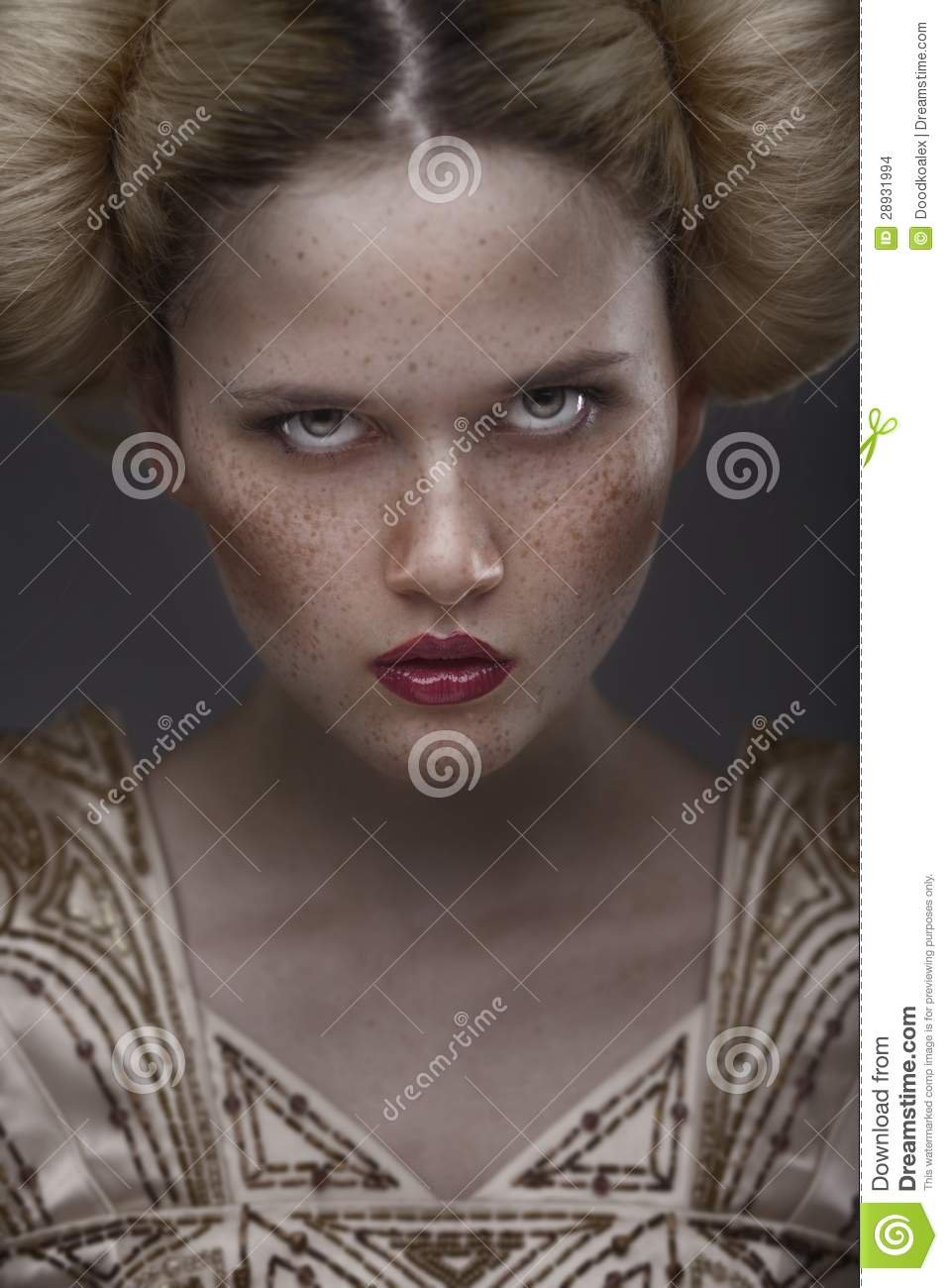 Portrait Of Fashion Beauty Model With Freckles Stock Photo