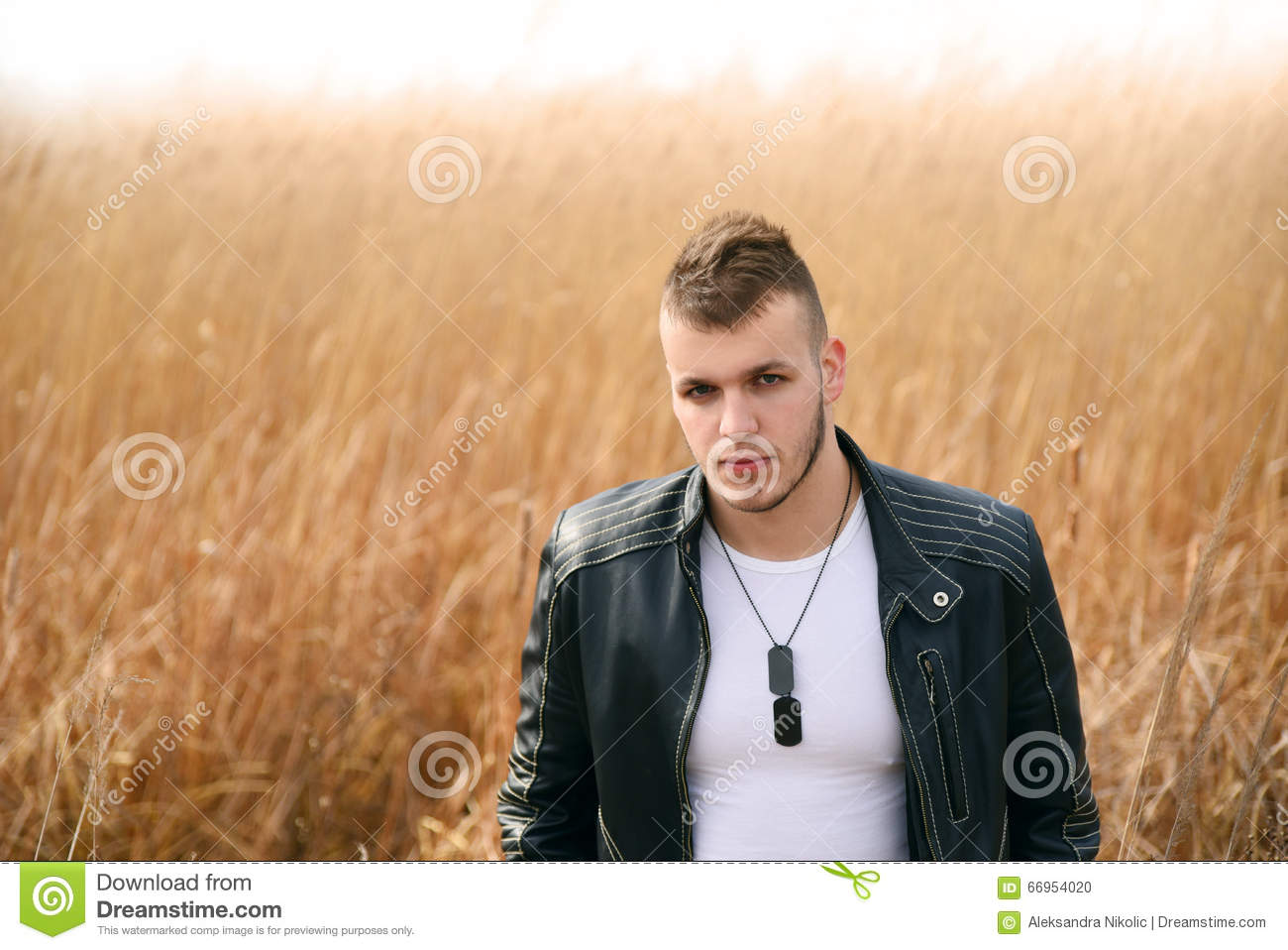 Download Portrait Of Fashion Man In Leather Jacket Stock Photo