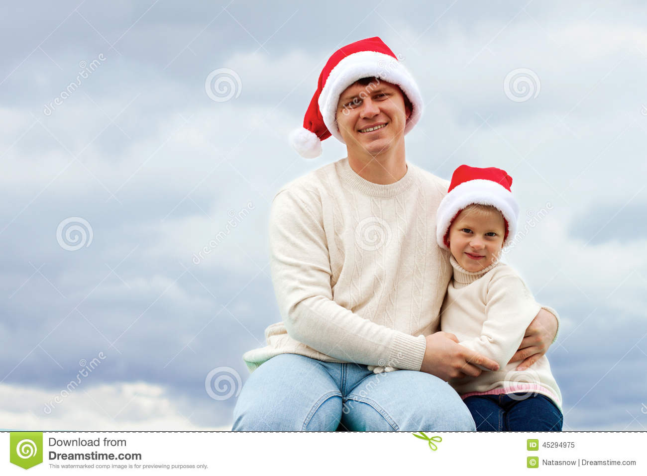 Portrait Of Father And Daughter In Christmas Hats Stock Image ... dd78f91c7b9