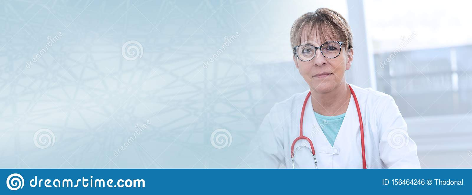 Portrait of female doctor; panoramic banner