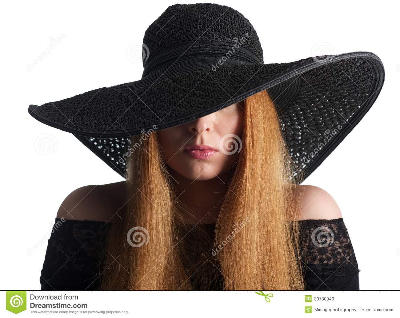 Portrait Of A Female Fashion Model With Black Hat Isolated ...