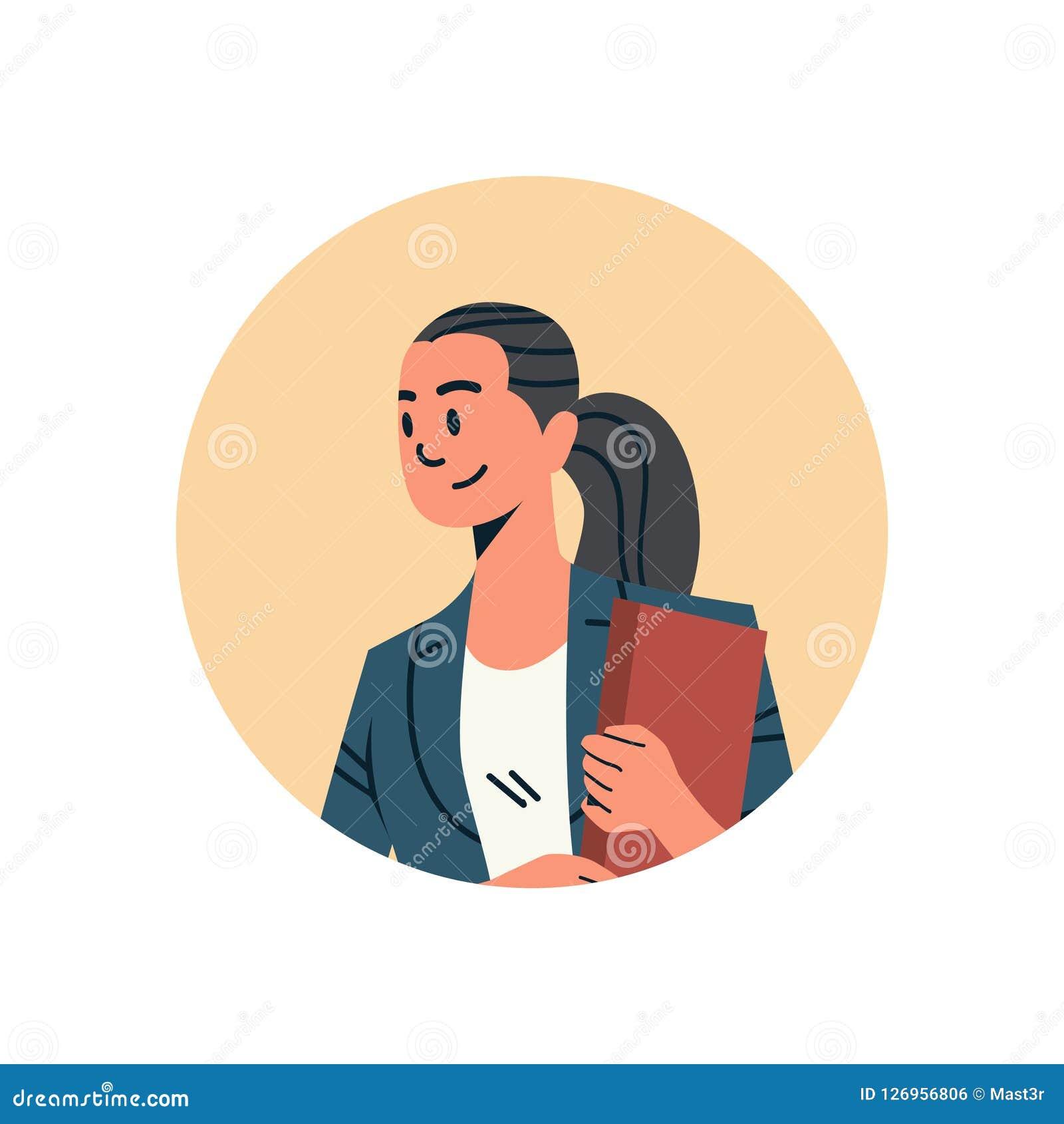 Portrait femelle en ligne de personnage de dessin animé de service de support de concept d icône de profil de visage de femme d a