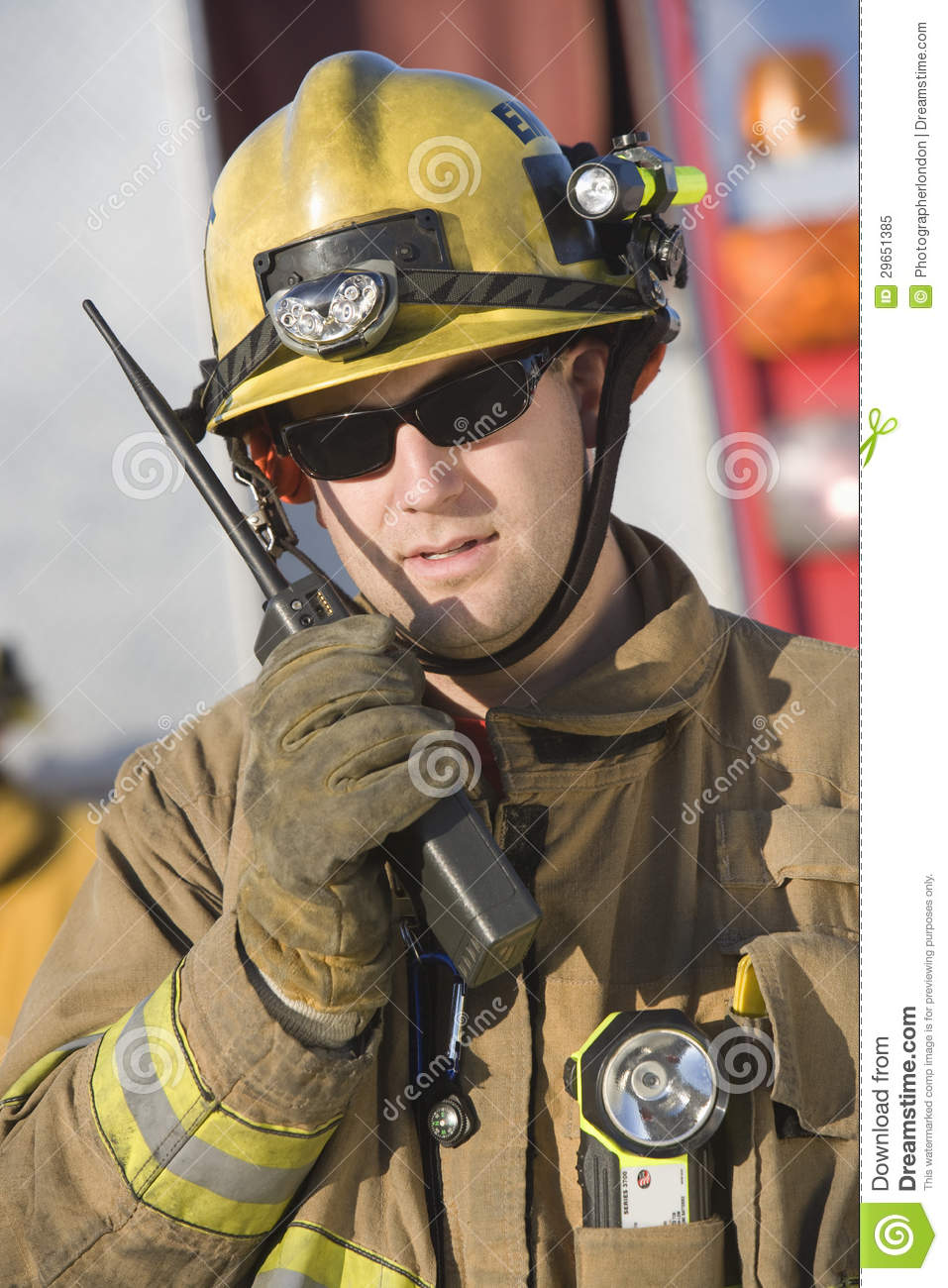 Portrait Of A Firefighter Talking On Radio Royalty Free Stock Photo ...
