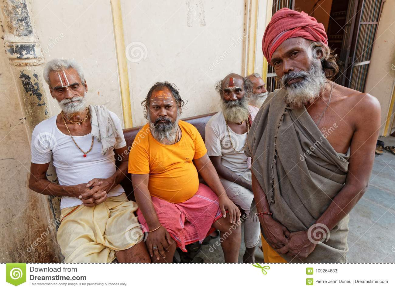 Arresting Sadhus Portrait Photography Religious Photography: Portrait Of Five Sadhus Men In Jaipur Editorial Stock