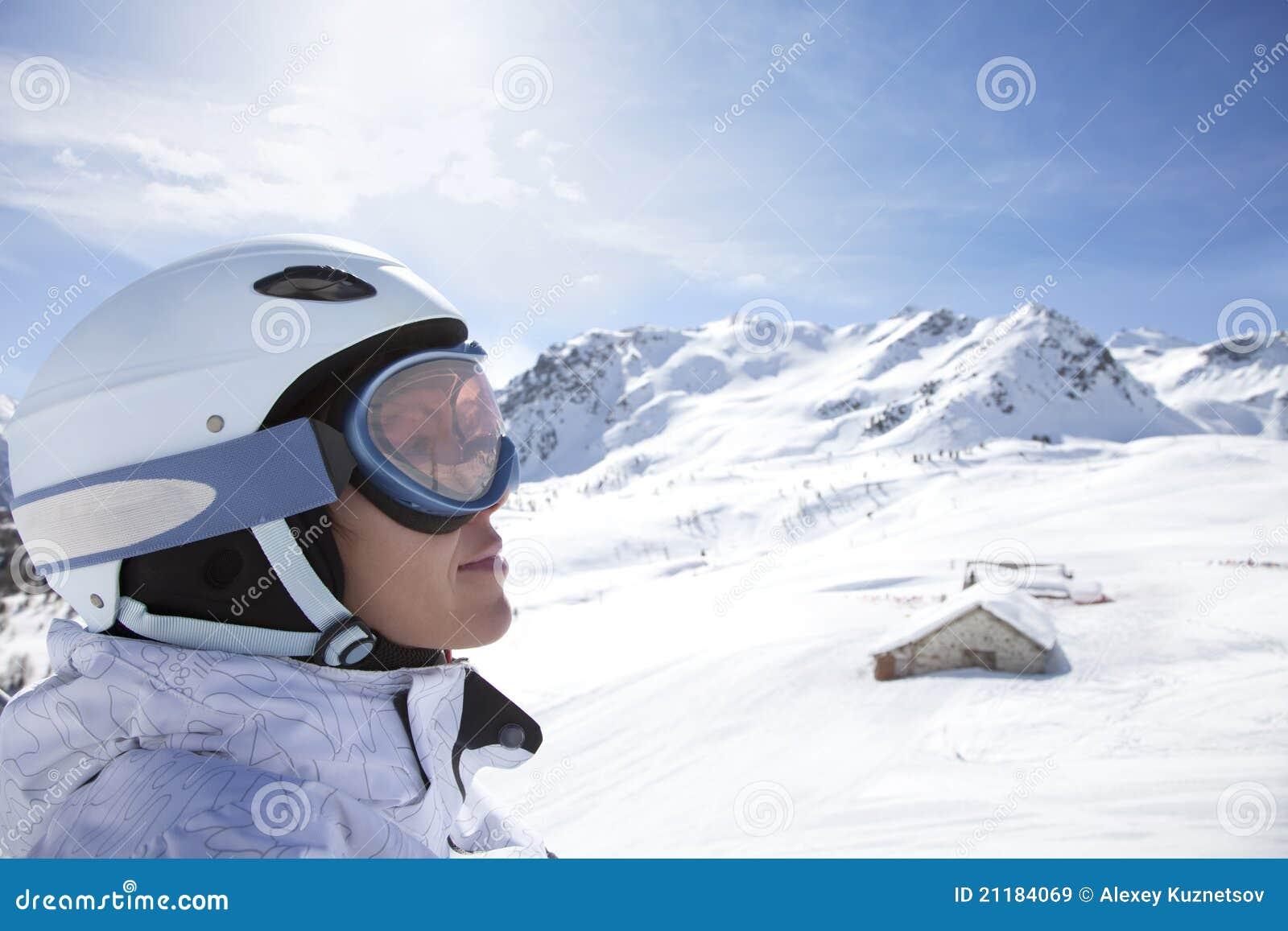 Portrait fo young woman in helmet