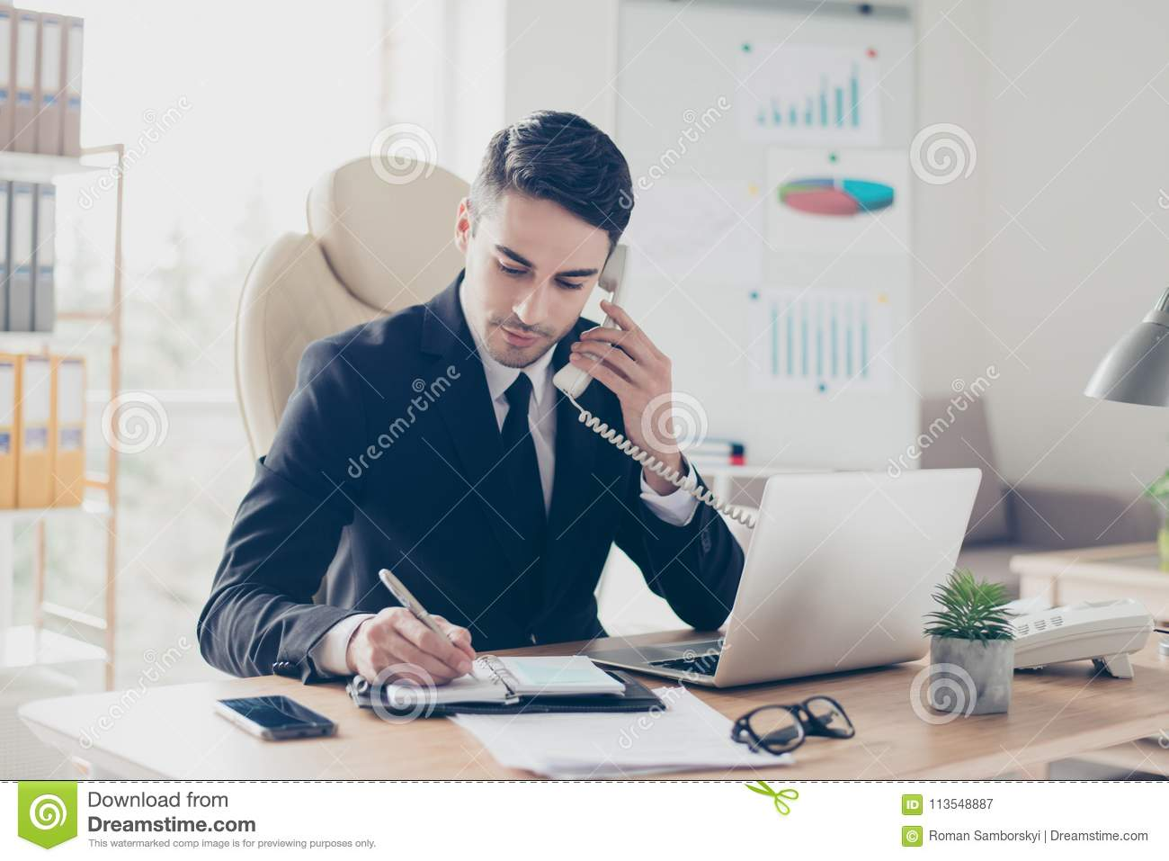 Portrait of focused confident concentrated smart intelligent clever busy expert specialist assistant giving recommendations advice