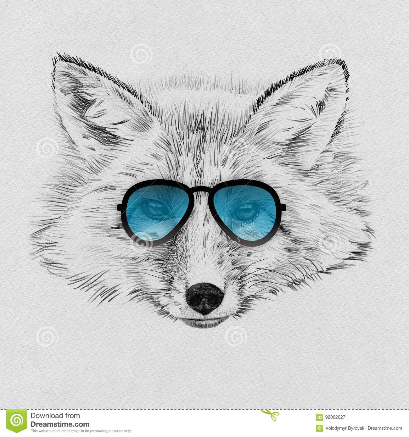 3f59d2bdff4 Portrait Of Fox Drawn By Hand In Pencil In Sunglasses Stock ...