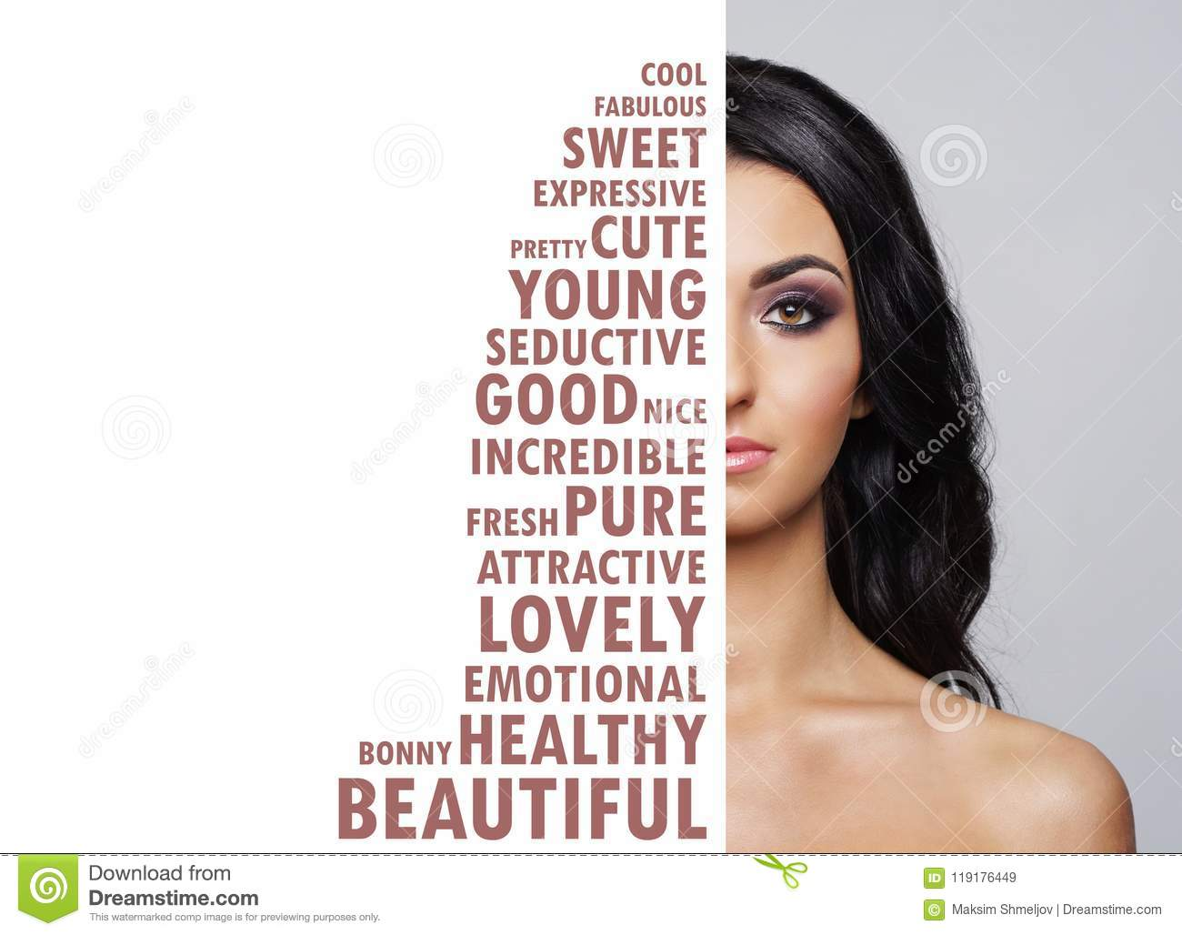 Portrait of fresh, young and beautiful girl in make-up and cosmetics concept.