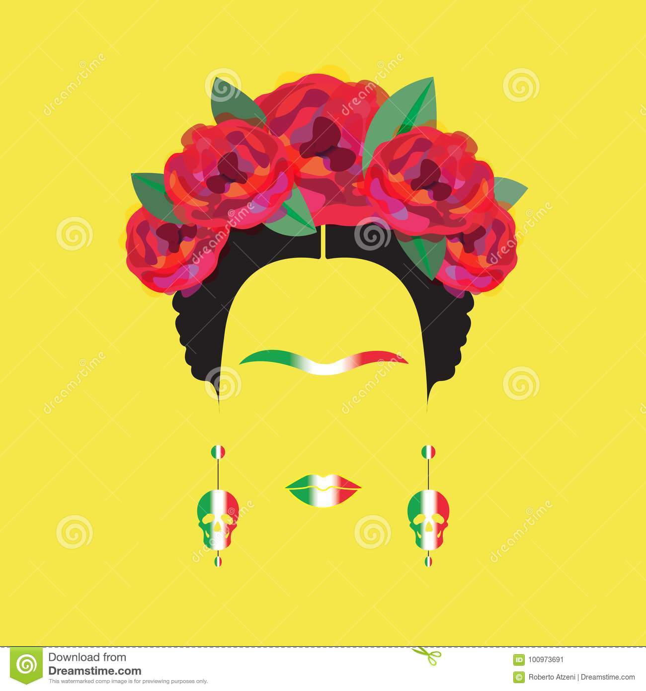 Portrait of Frida Kahlo minimalist Mexican woman with skulls of earrings and red flowers, Mexican flag, isolated
