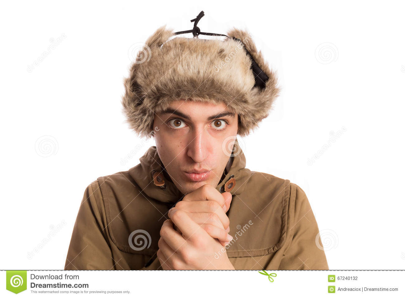 0df727b7535 Portrait Of Frozen Man With Eskimo Hat
