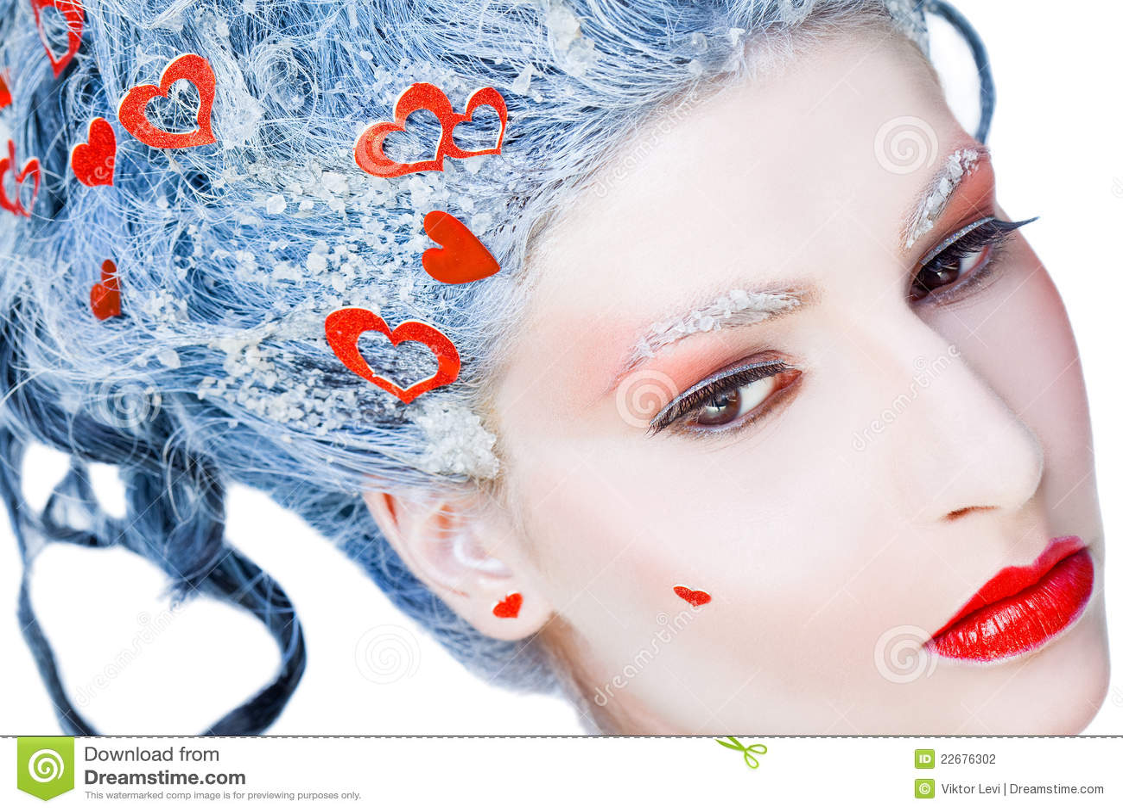 Portrait of frozen woman face