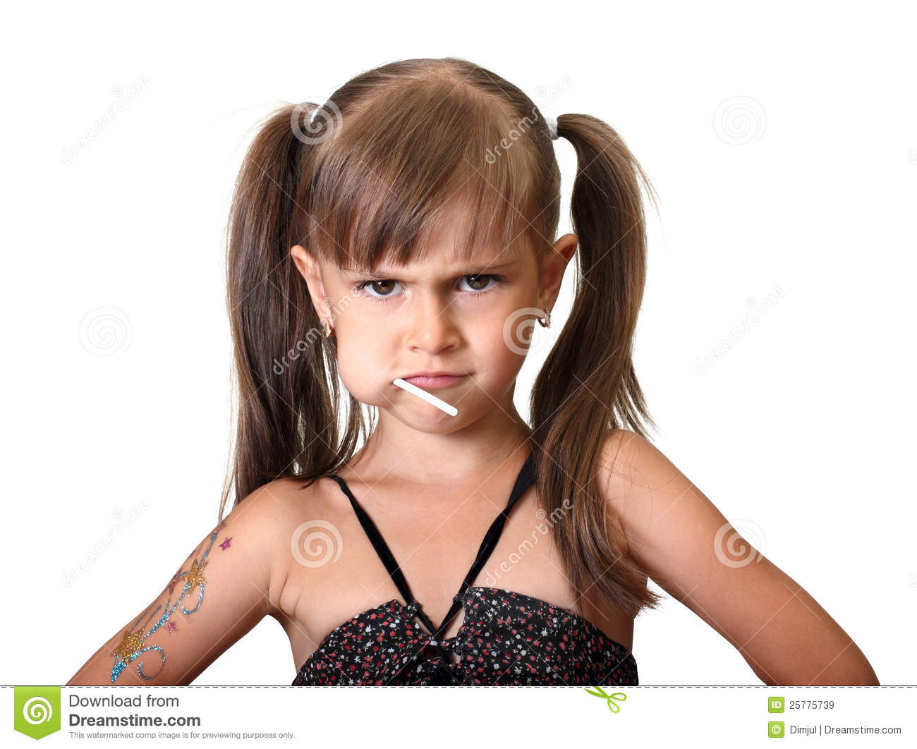 Portrait Of Funny Angry Child Girl Royalty Free Stock ...