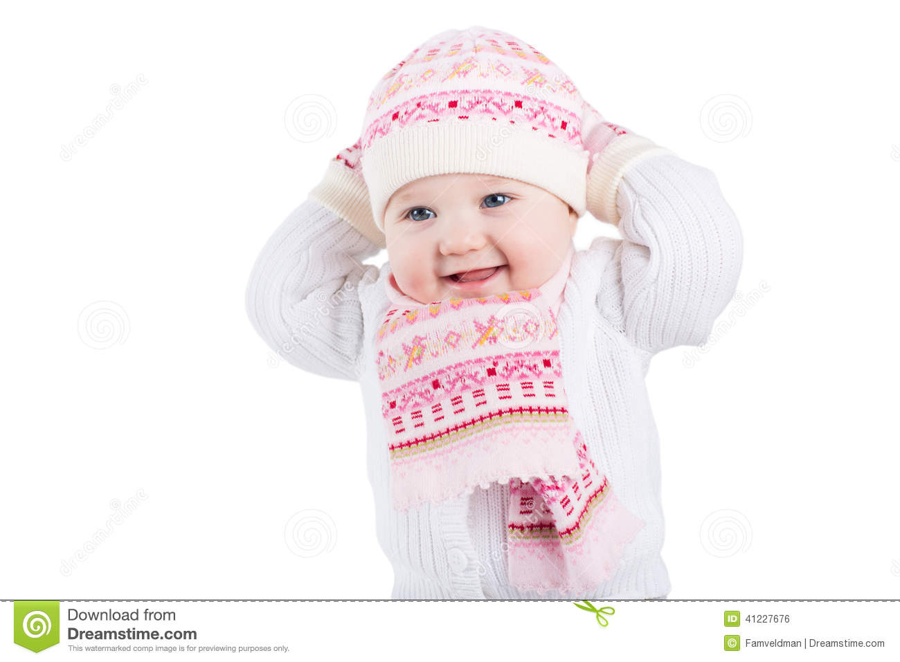 748faf72ec2 Portrait Of A Funny Baby Girl In A Knitted Hat