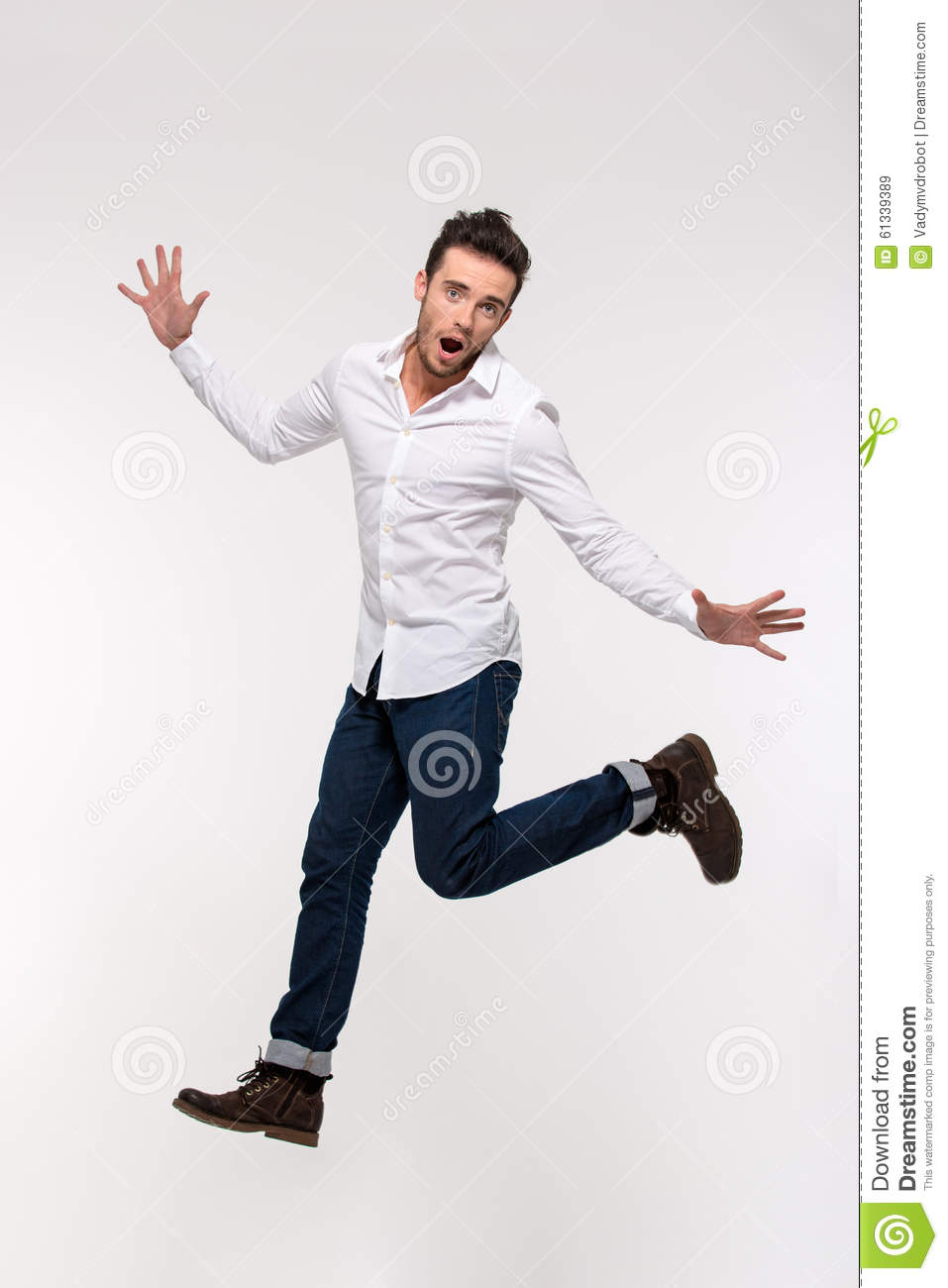 Portrait of a funny casual man jumping