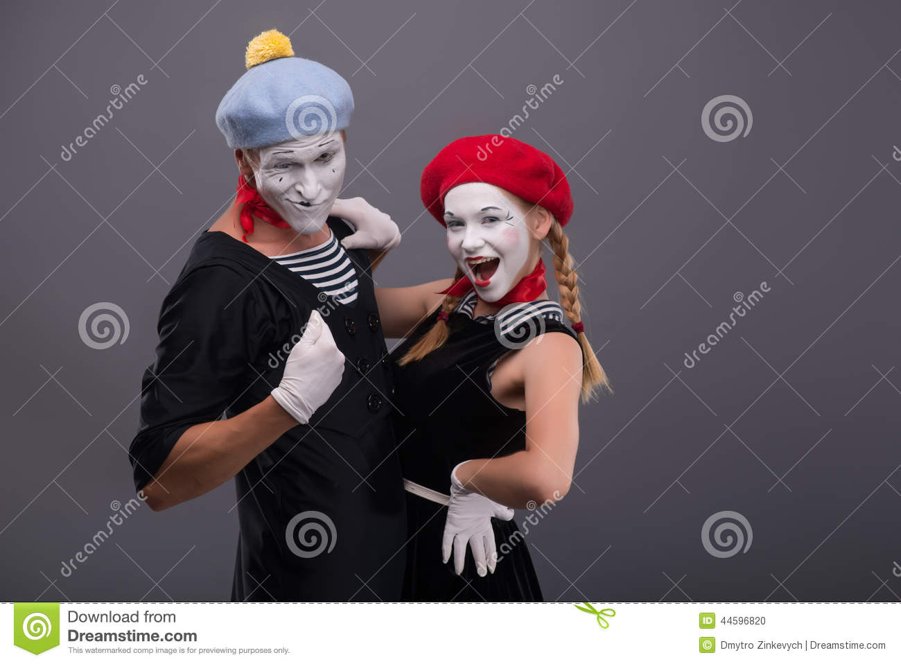 ac28de46c40 Portrait Of Funny Mime Couple With White Faces And Stock Photo ...
