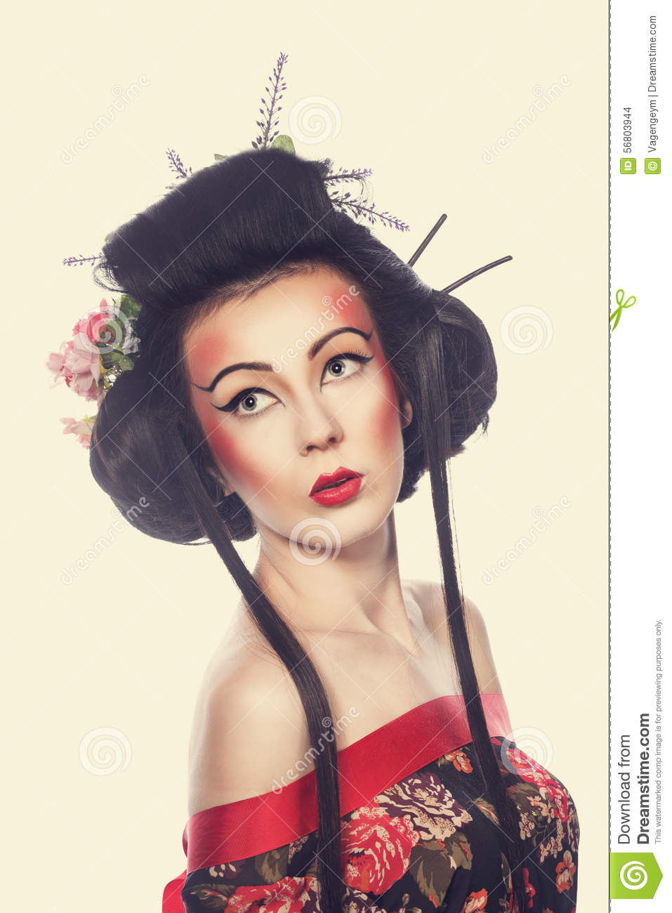 Portrait Of A Geisha Stock Photo Image 56803944