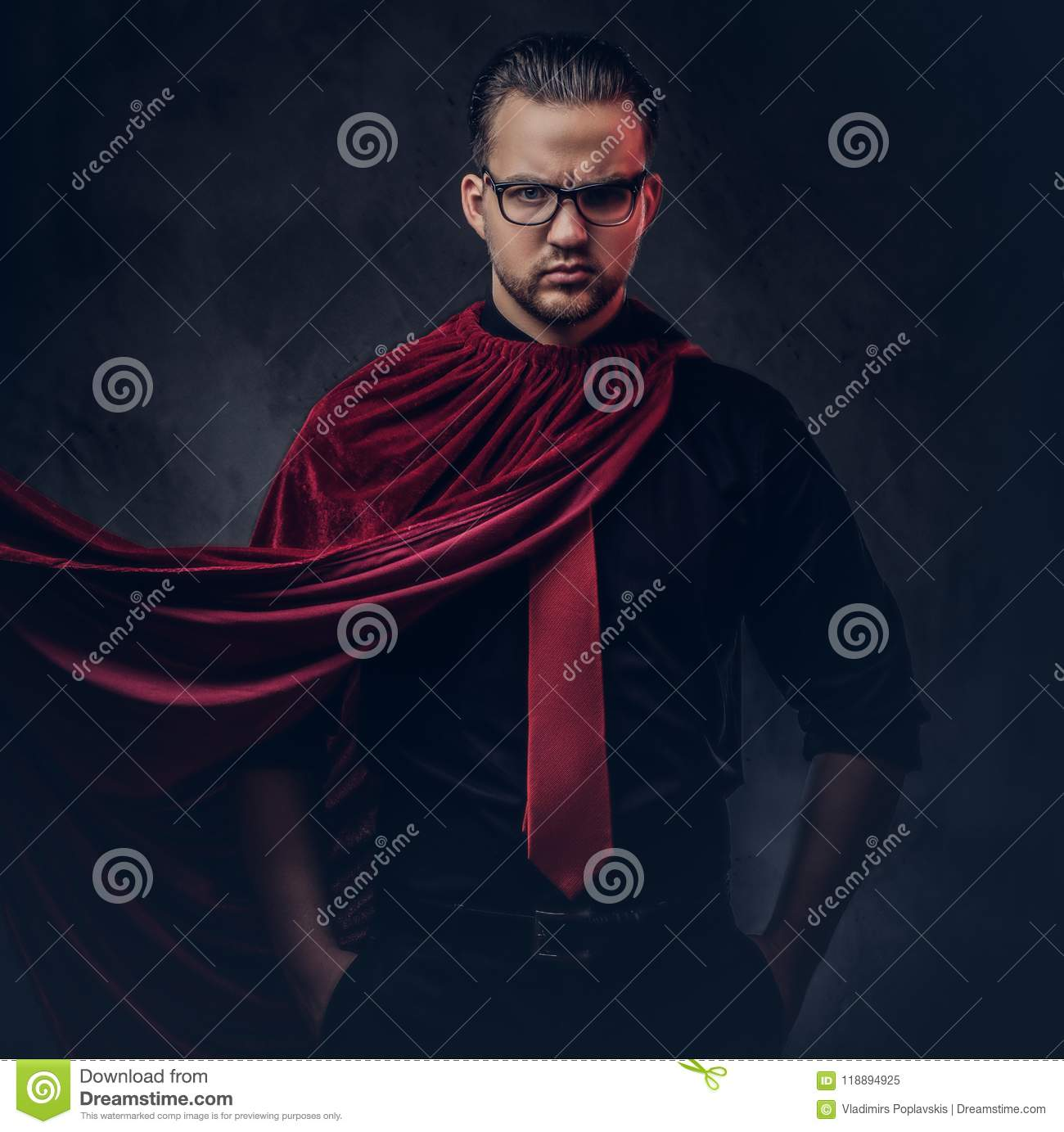 0d1ac4e56531 Portrait of a genius villain superhero in a black shirt with a red tie.