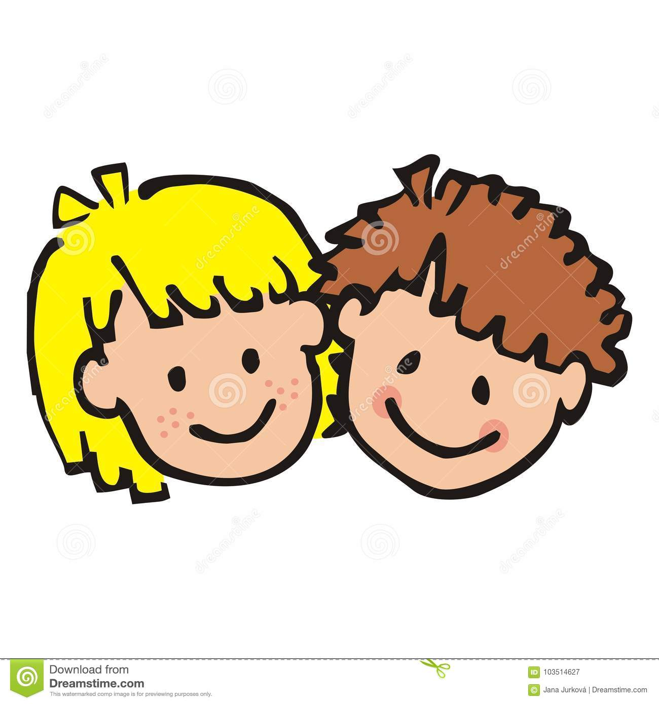 Download Portrait Of Girl And Boy Colored Doodle Smile Face Children Contour