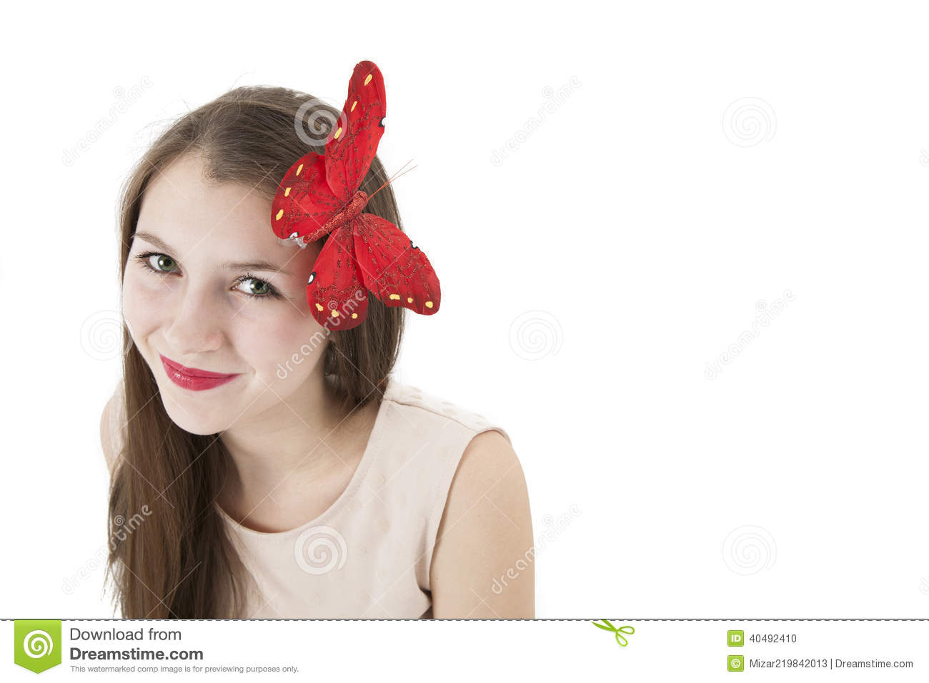 Portrait Of A Girl With A Butterfly On Her Head Stock Photo - Image ... 2ffd552ab