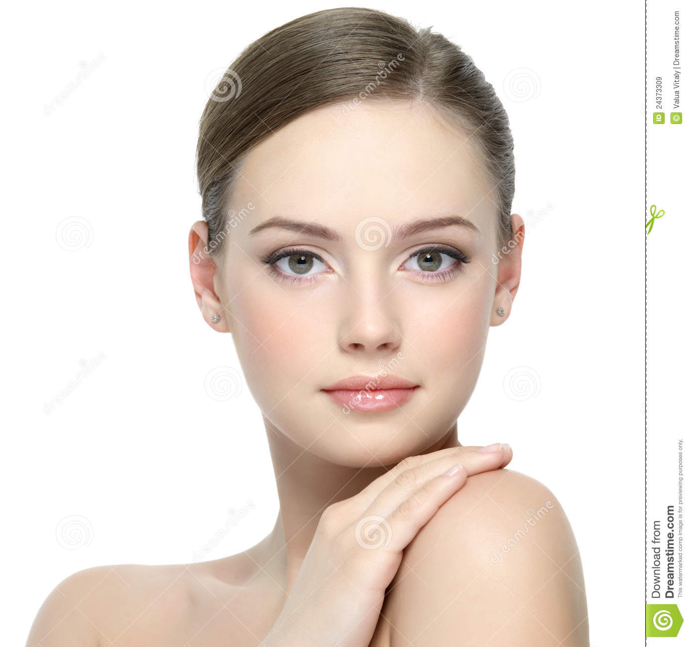 Portrait of beautiful young girl with clean skin on pretty face white background