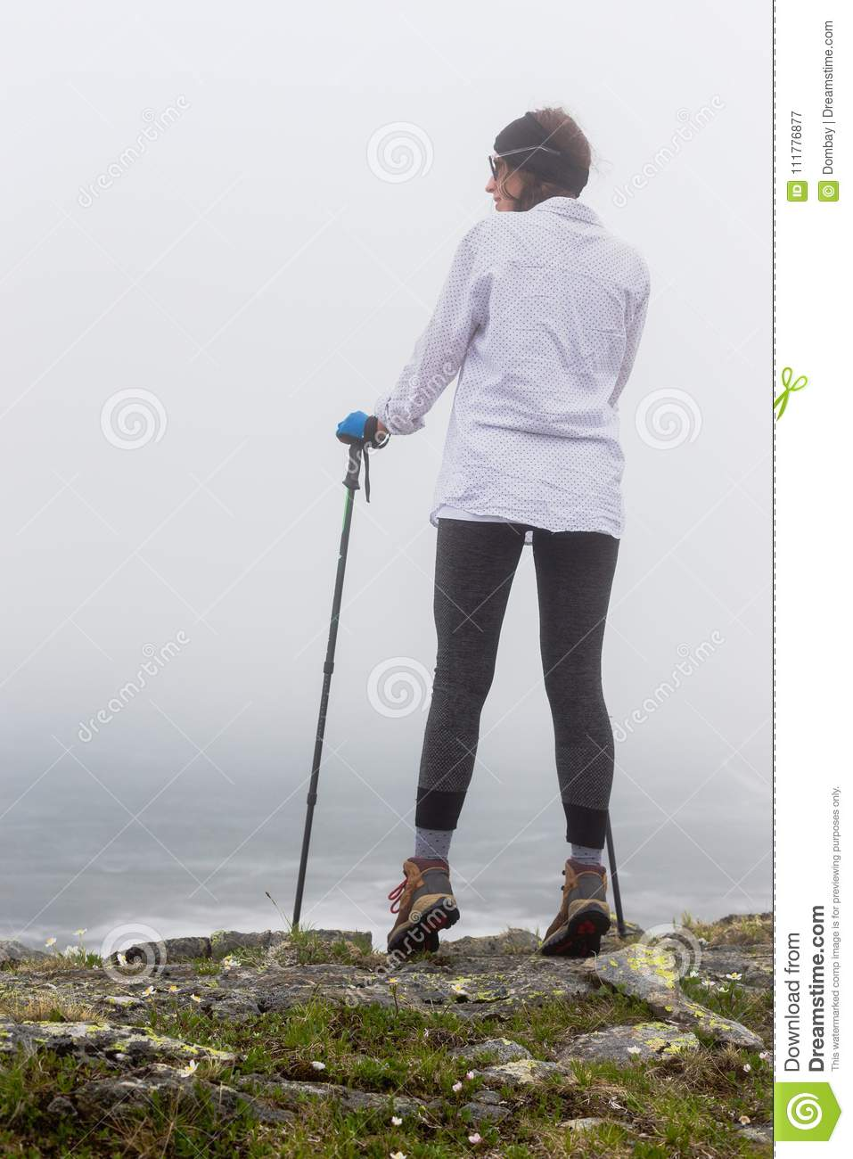 Portrait of a girl in foggy weather.