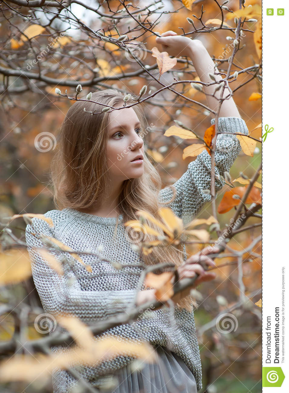 Portrait Of A Girl Model That Stands Among The Trees, With One H