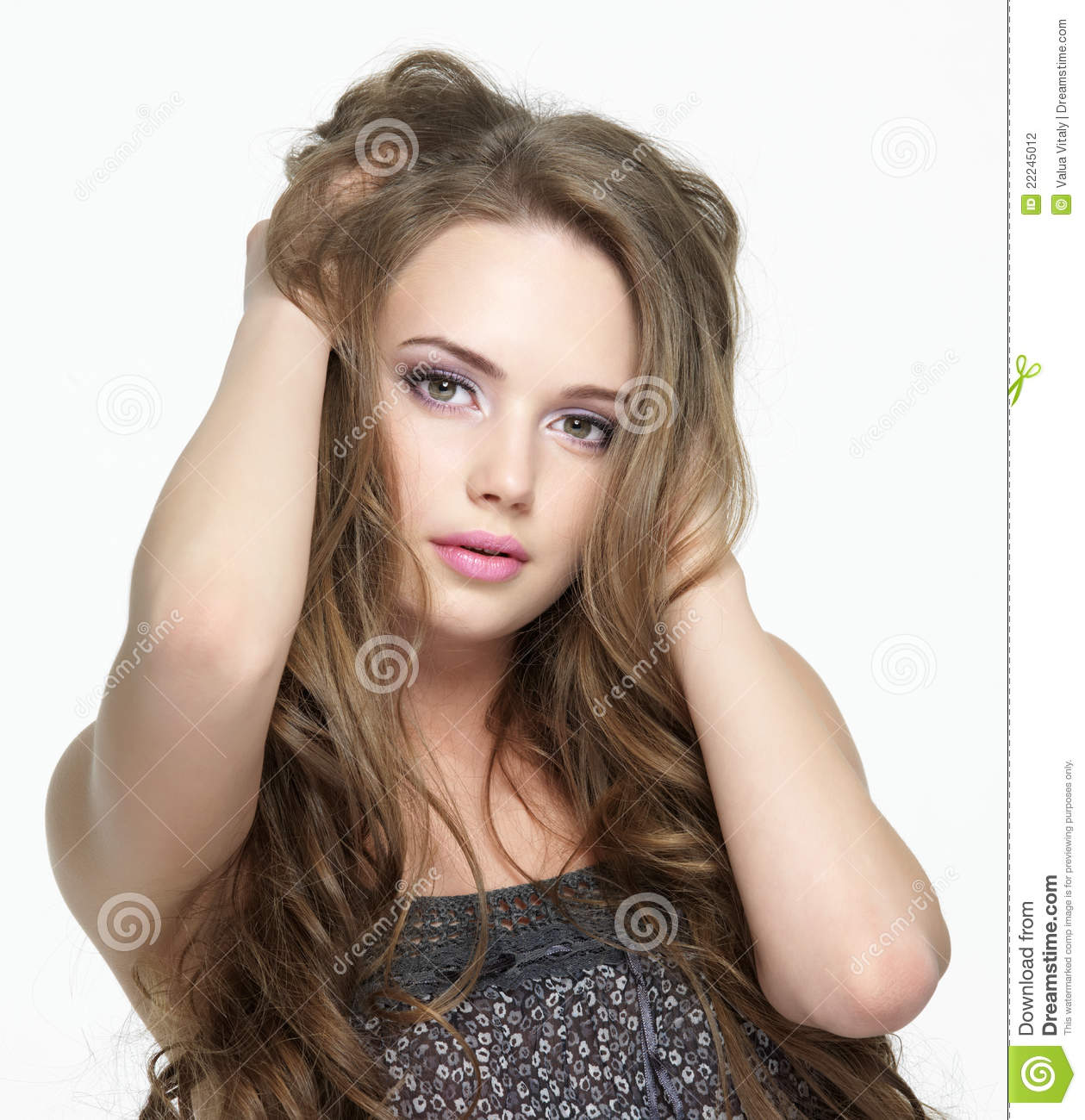 Portrait of girl with pretty face with long hairs