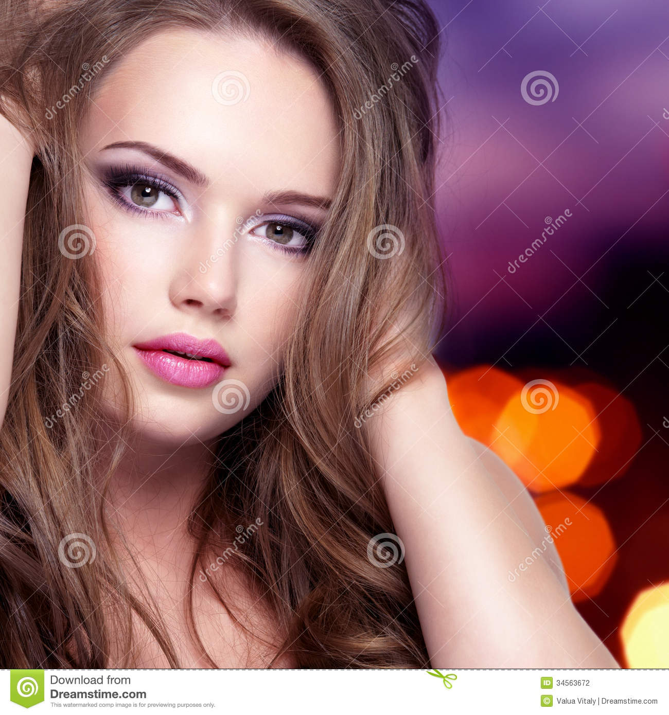 Portrait Of Girl With Pretty Face With Long Hairs Stock