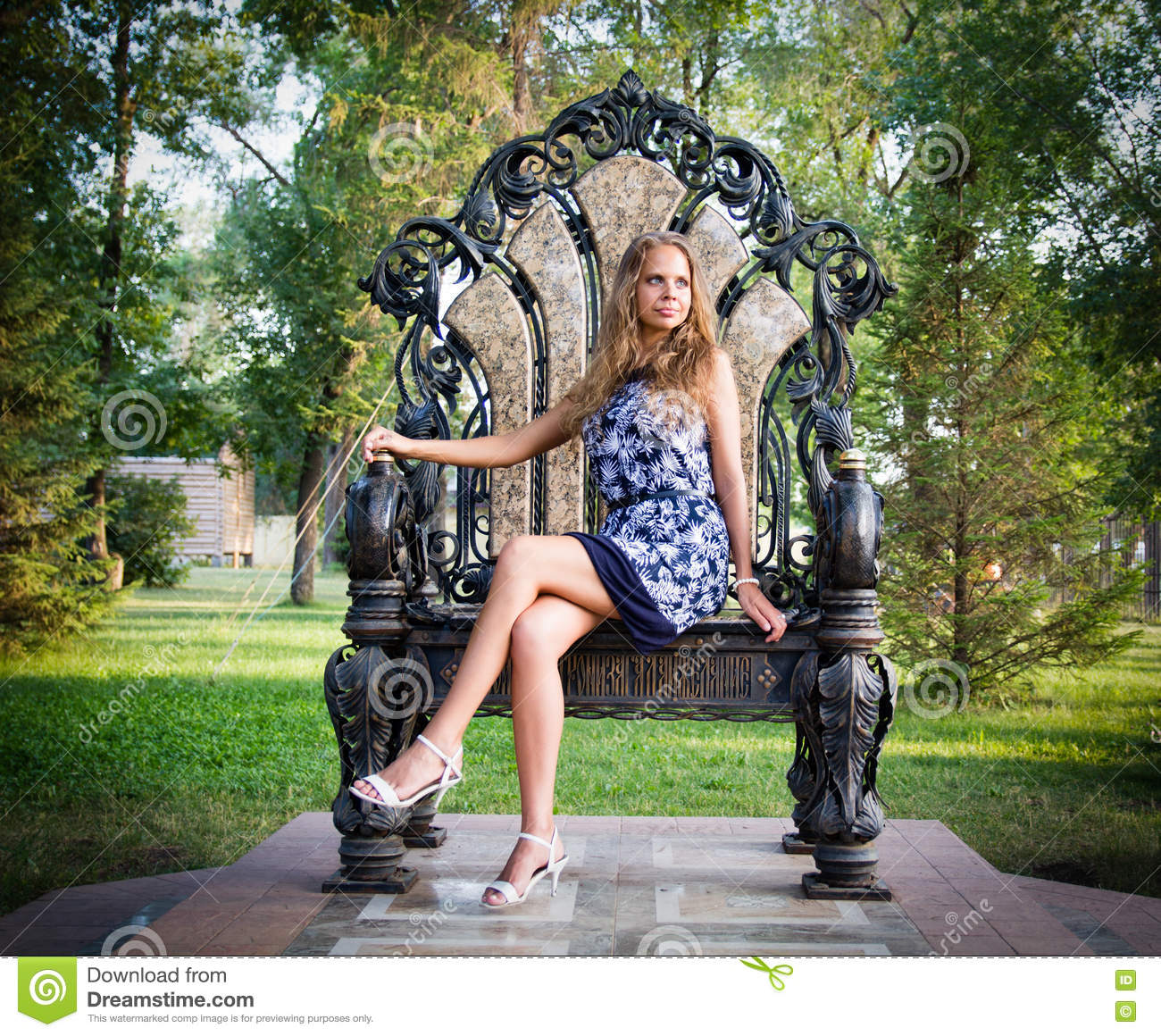Portrait Of A Girl Sitting On The Throne Stock Image