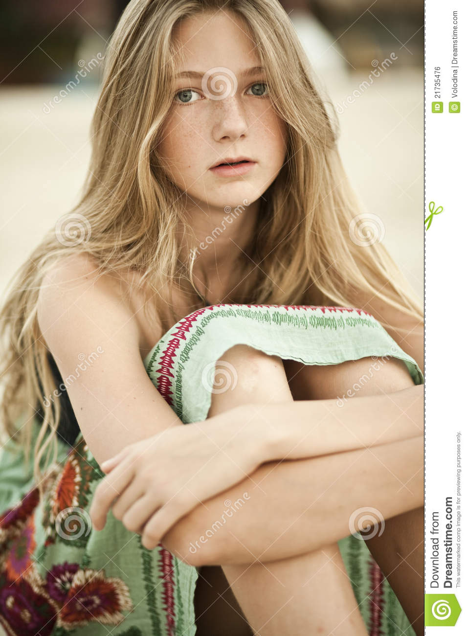 Portrait Of A Girl Teen With Freckles Stock Photo